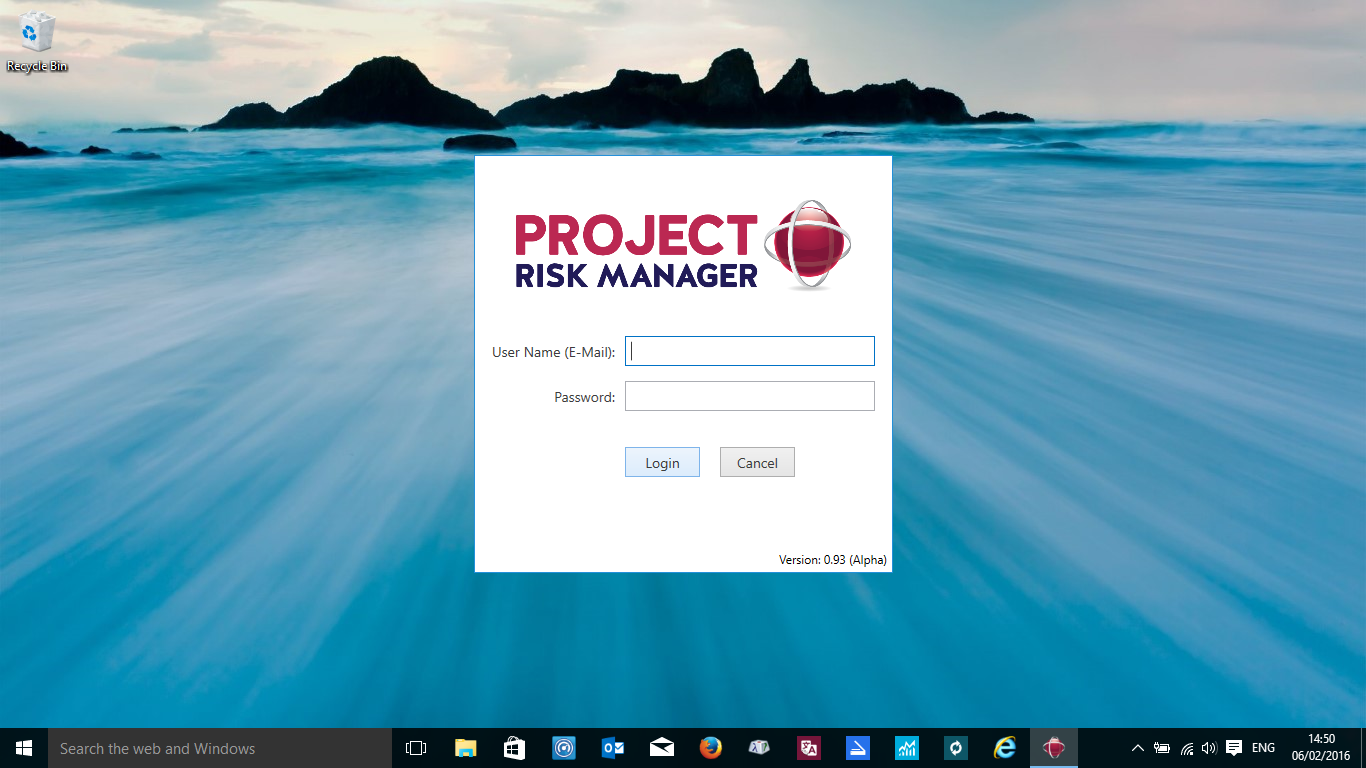 Free Project Risk Management Software Login Screen