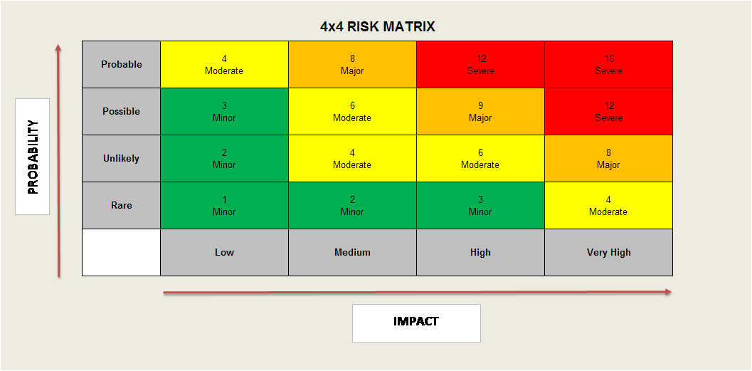 Project Risk Manager - 4x4 Risk Matrix