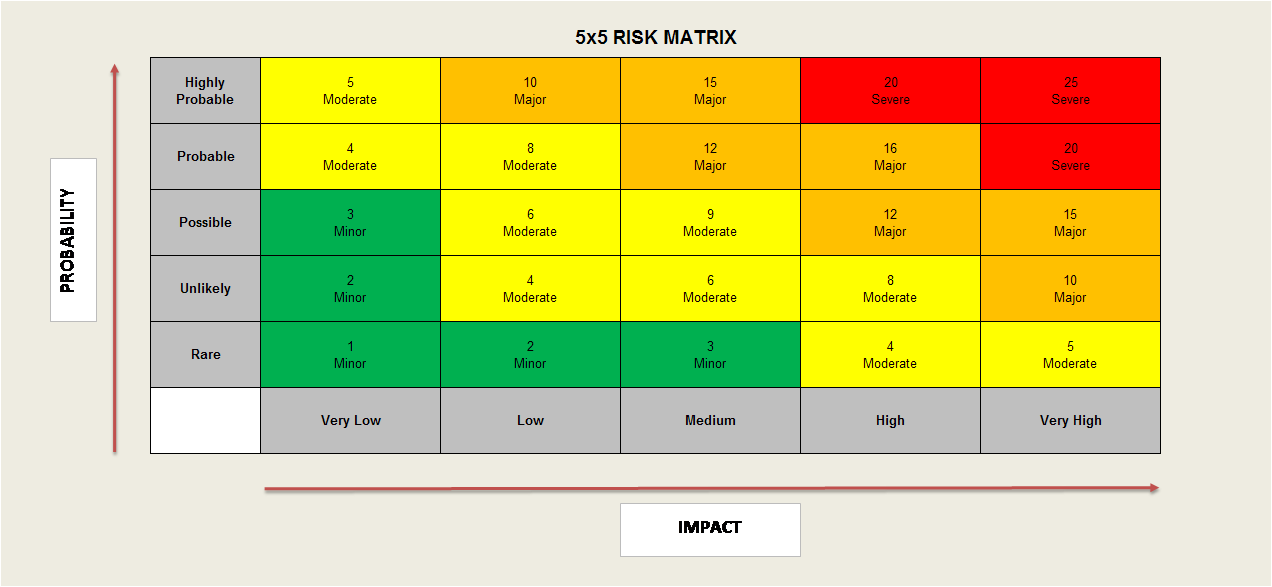 Project Risk Manager - 5x5 Risk Matrix